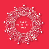 Floral frame for Happy Valentines Day celebration. Royalty Free Stock Photo
