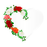 Floral  frame heart with  Roses  and buds vintage  festive  background vector illustration editable. Hand draw Stock Photo