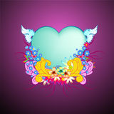 Floral frame with heart shape Stock Image