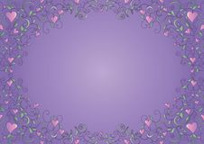 Floral frame with hearts Royalty Free Stock Images