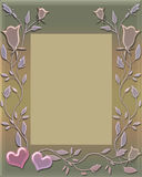 Floral frame with hearts Stock Photography