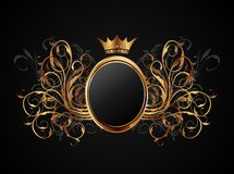 Floral frame with heraldic crown Stock Photography