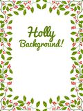 Floral frame with holly Stock Photo
