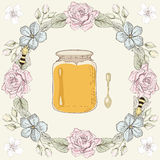 Floral frame, honey jar and bees Royalty Free Stock Photos
