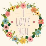 Floral frame - I love you. Happy Valentine's day card. Royalty Free Stock Photos