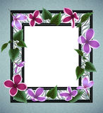 Floral frame. Illustration of abstract floral frame with lilac flowers, leaves and triangle elements Royalty Free Stock Images