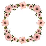 Floral frame illustration. Beautiful pink flowers with green leaves. Round pattern on white background with space for your text. Floral frame illustration Stock Photo