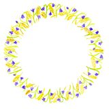Floral frame isolated on a white background. Bluebells and wheat ears arranged in a circle. stock illustration