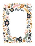 Vector floral frame isolated on the white background. Cute flat floral wreath perfect for wedding invitations and birthday cards. Floral Frame isolated on the royalty free illustration