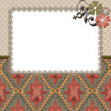 Floral frame lace beige background. Texture Stock Images