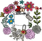 Floral frame with ladybug Royalty Free Stock Photos