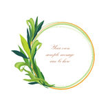 Floral frame with leaves. Photo frame of round shape isolated Stock Photo