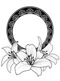 Floral frame with lilies Stock Images