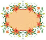 Floral frame with lily, vector stock illustration