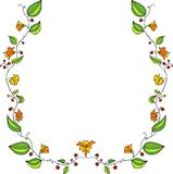 Floral frame with line drawing doodle flowers Royalty Free Stock Photo