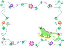 Floral Frame with Lizard, Butterfly, and Dragonfly Stock Photography