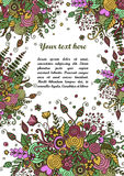 Floral frame made of bouquets from flowers. Floral frame made of flowers, branches, spirals, berries and other elements in doodling and zentangle style. Can be Stock Photo