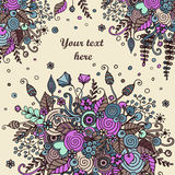 Floral frame made of bouquets from flowers. Floral frame made of flowers, branches, spirals, berries and other elements in doodling and zentangle style. Can be Royalty Free Stock Image