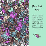 Floral frame made of bouquets from flowers. Floral frame made of flowers, branches, spirals, berries and other elements in doodling and zentangle style. Can be Stock Images