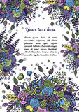 Floral frame made of bouquets from flowers. Floral frame made of flowers, branches, spirals, berries and other elements in doodling and zentangle style. Can be Stock Image