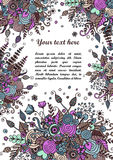 Floral frame made of bouquets from flowers. Floral frame made of flowers, branches, spirals, berries and other elements in doodling and zentangle style. Can be Royalty Free Stock Photo