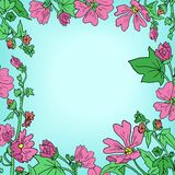 Floral frame with mallow flowers Stock Photo