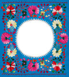 Floral frame. Mexican flowers embroidery frame with white blank space Royalty Free Stock Photo