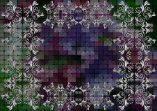 Floral frame on mosaic background Royalty Free Stock Images