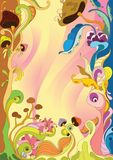 Floral frame with mushroom stock illustration