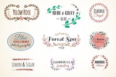 Floral Frame and Name Collection Royalty Free Stock Image