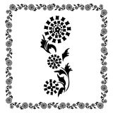 Floral frame ornament  Drawing flower black Royalty Free Stock Image