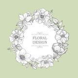 Floral frame over flower background. Spring card. Stock Image