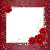 Floral frame with pearls stock illustration