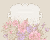 Floral frame with peony Royalty Free Stock Photos
