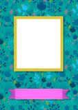 Floral frame for picture with banner for text. Floral greeting card. Graceful silhouettes of flowers and plants. Yellow frame for custom photo. Purple banner for Royalty Free Stock Photos