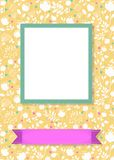 Floral frame for picture with banner for text. Floral greeting card. Graceful white silhouettes of flowers and plants. Green frame for custom photo. Purple Stock Images
