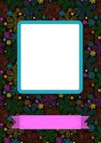 Floral frame for picture with banner for text. Graceful greeting card. Geometric colorful floral pattern. Blue frame for custom photo. Pink banner for custom Stock Image