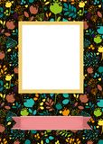 Floral frame for picture with banner for text. Floral greeting card. Graceful bright silhouettes of flowers and plants. Yellow frame for custom photo. Pink Royalty Free Stock Photos