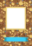 Floral frame for picture with banner for text. Floral greeting card. Graceful silhouettes of flowers and plants. Yellow frame for custom photo. Blue banner for Stock Image
