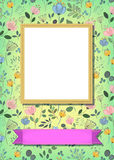Floral frame for picture with banner for text. Floral greeting card. Graceful watercolor flowers and plants. Yellow frame for custom photo. Pink banner for Royalty Free Stock Photo