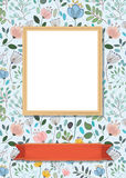 Floral frame for picture with banner for text. Floral greeting card. Graceful watercolor flowers and plants. Yellow frame for custom photo. Red banner for custom Stock Image