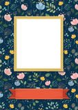 Floral frame for picture with banner for text. Floral greeting card. Graceful watercolor flowers and plants. Yellow frame for custom photo. Red banner for custom Royalty Free Stock Image