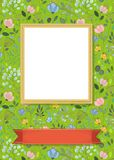 Floral frame for picture with banner for text. Floral greeting card. Graceful watercolor flowers and plants. Yellow frame for custom photo. Red banner for custom Royalty Free Stock Photography