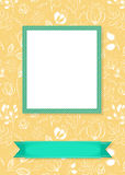 Floral frame for picture with banner for text. Floral greeting card. Graceful white flowers and plants with drawing effect. Green frame and banner for custom Royalty Free Stock Photos