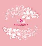 Floral frame. On pink background Stock Image