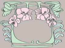 Floral frame. Pink flowers and green leaves in art Deco style Stock Image