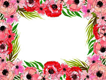 Floral frame with pink flowers Royalty Free Stock Image