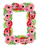 Floral frame with pink flowers Royalty Free Stock Photos