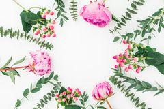 Floral frame with pink peonies and eucalyptus branches on white background. Flat lay. Top view royalty free illustration