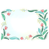 Floral frame with pink spring flowers. Tulips posy border isola Stock Photos